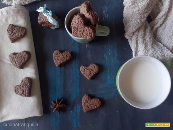 Biscotti a cuore con cacao