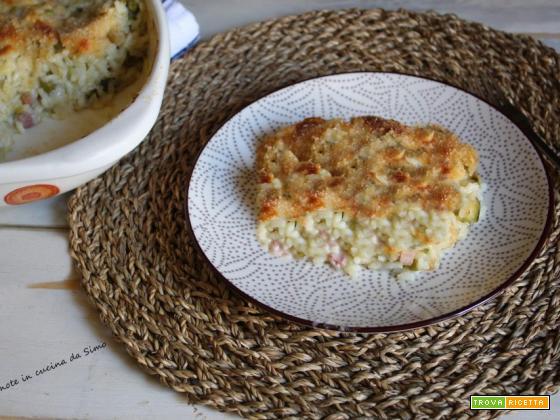 SFORMATO di riso con pancetta piselli e zucchine