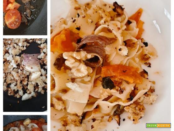 Tumact Me Tulez – tagliatelle con mollica di pane, alici e noci