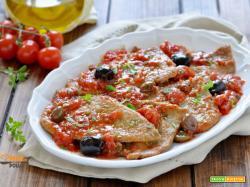 Fettine di manzo al pomodoro olive e capperi