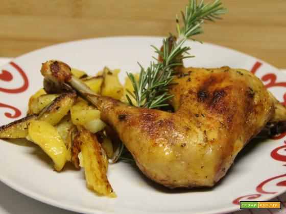 Cosci di pollo e patate arrosto