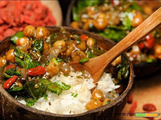 Ceci con Basmati e spinaci alla salsa agrodolce di Kuzu