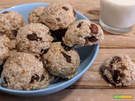 Palline integrali senza zucchero con cocco e uvetta