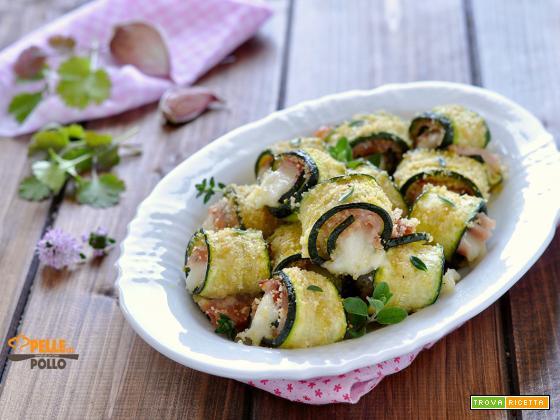 Rotolini di zucchine e prosciutto gratinati