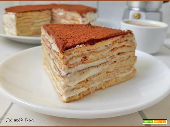 Torta Fredda di Crepes al Tiramisù Proteica e Senza Glutine