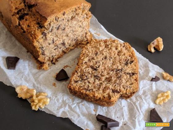 Plumcake integrale vegan con noci e cioccolato fondente extra
