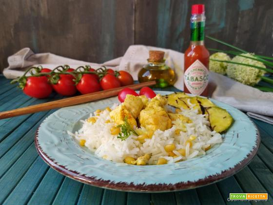 Riso Basmati con pollo al curry e Tabasco