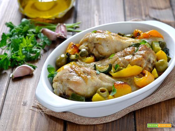 Pollo arrosto con verdure al forno
