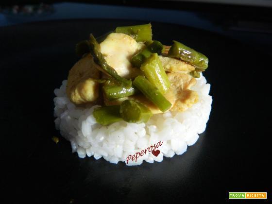 Pollo al curry con gli asparagi