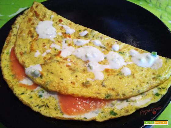 Omelette salmone e panna acida