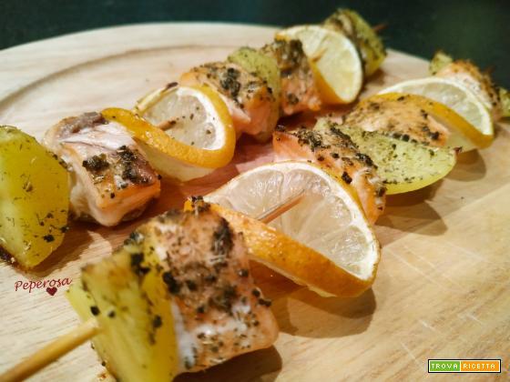 Spiedini di salmone al forno