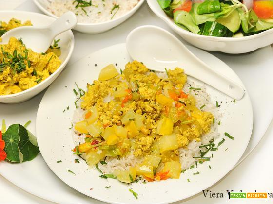 Riso con tofu e verdure dell'orto senza glutine