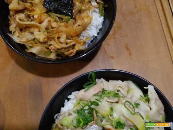 Donburi (butadon e sashimi donburi)