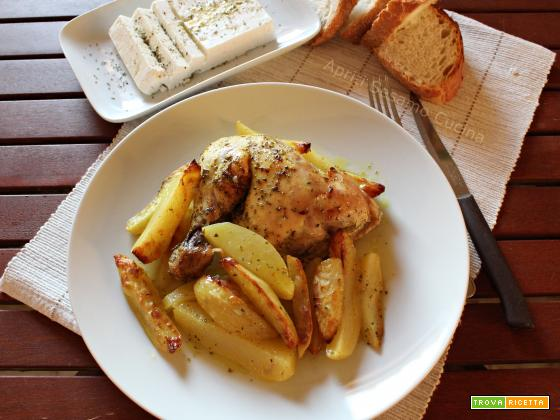 Pollo al forno con patate - ricetta greca