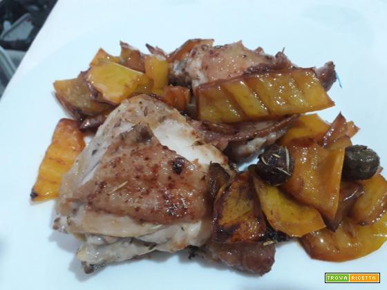 Pollo alla cacciatora con contorno di peperoni