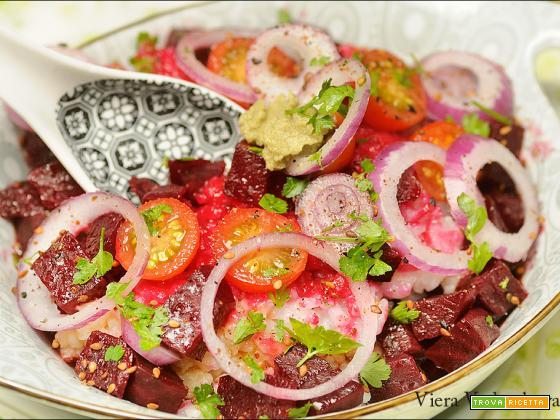 Porridge di riso con rape rosse e wasabi
