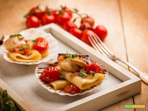 Paccheri con capesante e pomodorini, una semplice bontà