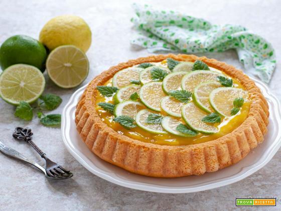 Crostata morbida con crema al limone e lime