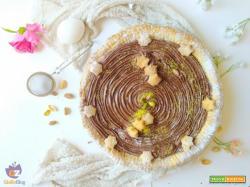 Crostata con farina di pistacchio e crema alle nocciole