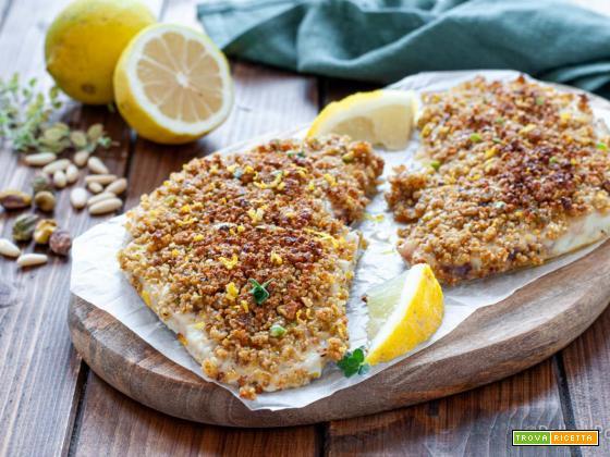 Palombo gratinato al limone e pistacchi
