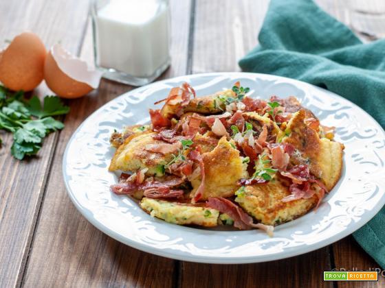 Schmarren salato con zucchine e speck
