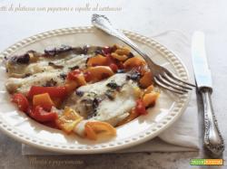 Filetti di platessa con peperoni e cipolle al cartoccio