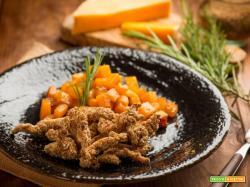 Straccetti di tacchino al sesamo e zucca, piatto aromatico