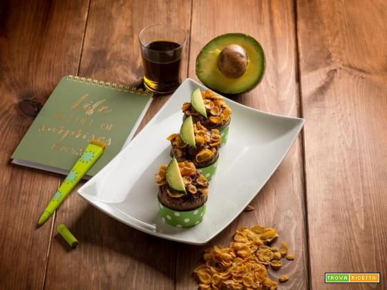Mini muffins al cacao con avocado e corn flakes…che buoni!