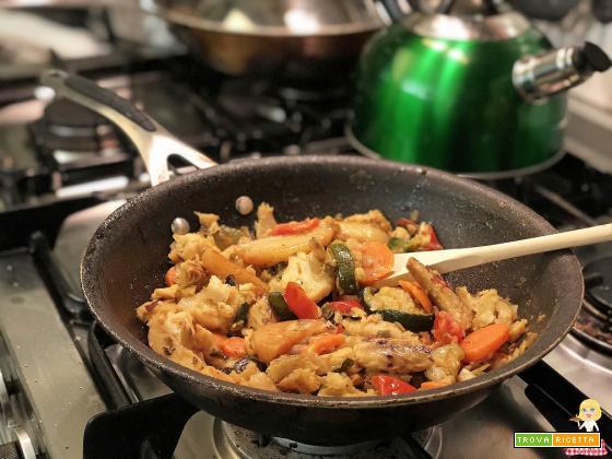 Merluzzo in padella con verdure