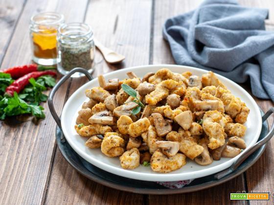 Straccetti di pollo con funghi in friggitrice ad aria