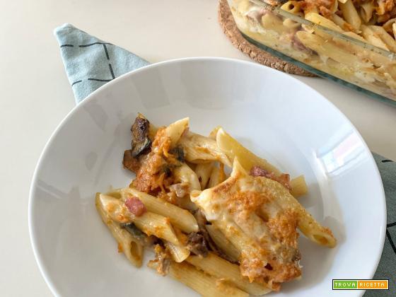 Pasta al forno zucca e pancetta affumicata
