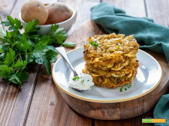 Rosti di patate al forno con porri