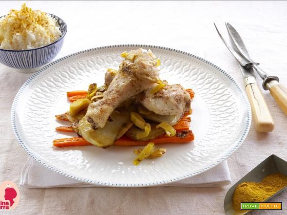 Cosce di Pollo al curry con Verdure al cartoccio speziate…