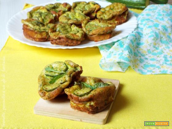 Frittatine al forno con zucchine e pesto di rucola