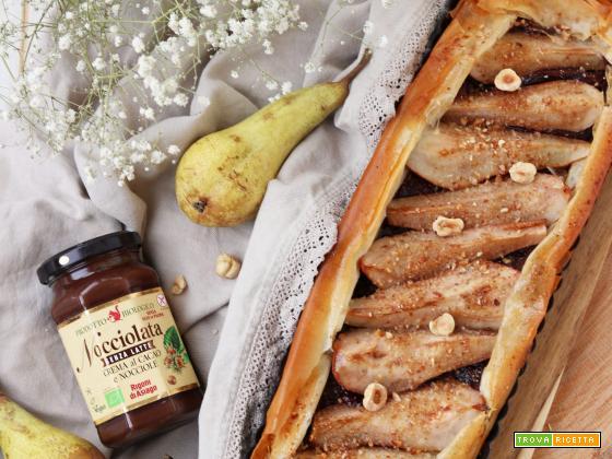 Crostata croccante con nocciolata e pere