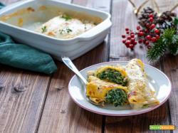 Cannelloni di crespelle con salmone e spinaci
