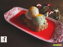 Panettone  croccante in friggitrice ad aria con gelato artigianale e salsa di cachi