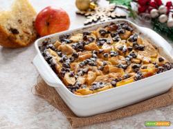 Torta con panettone pere e cioccolato