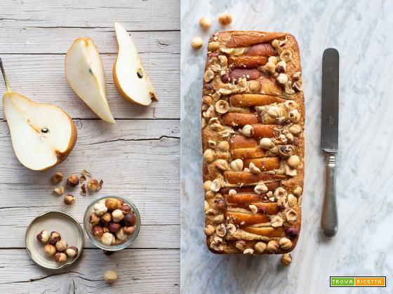 Plumcake con pere e nocciole {con farina di segale e olio extra vergine}
