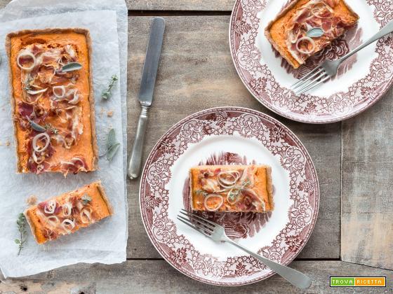 Crostata salata integrale con zucca e pancetta {brisèe senza burro}
