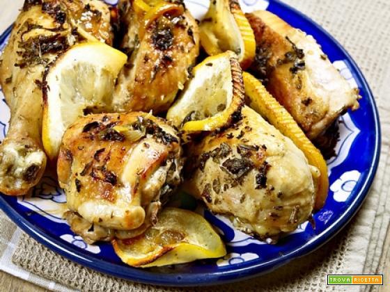 Pollo al limone al forno (con erbette)