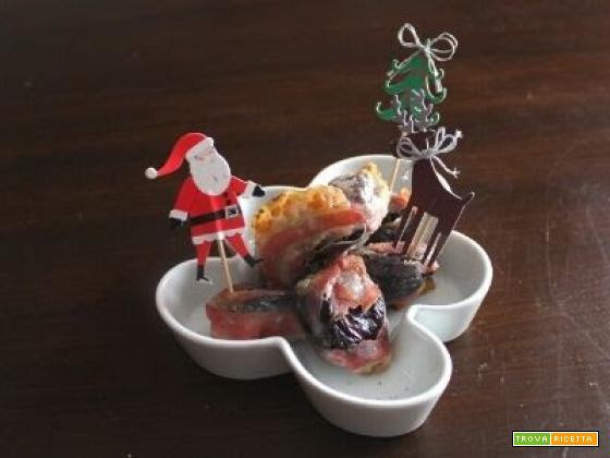 Pepite di prugne, noci e pancetta croccante in friggitrice ad aria