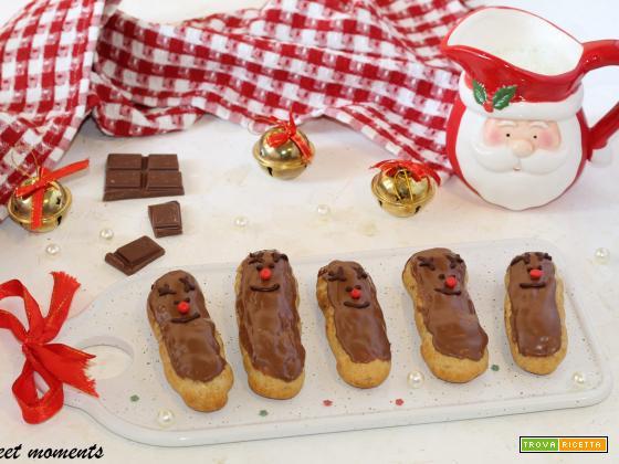 Rudolph eclair con crema al cioccolato