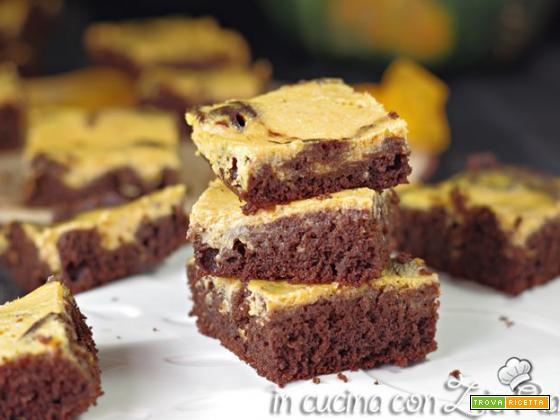 Brownies cheesecake alla zucca