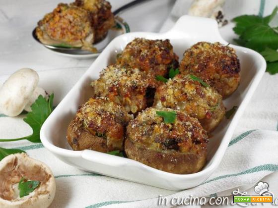 Funghi ripieni di carne gratinati