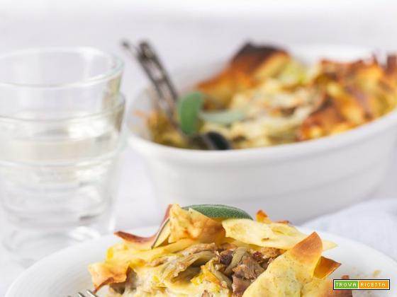 Lasagne faraona e carciofi con salsa di porri al limone