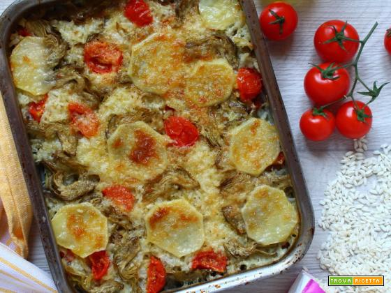 Tiella di riso patate e carciofi