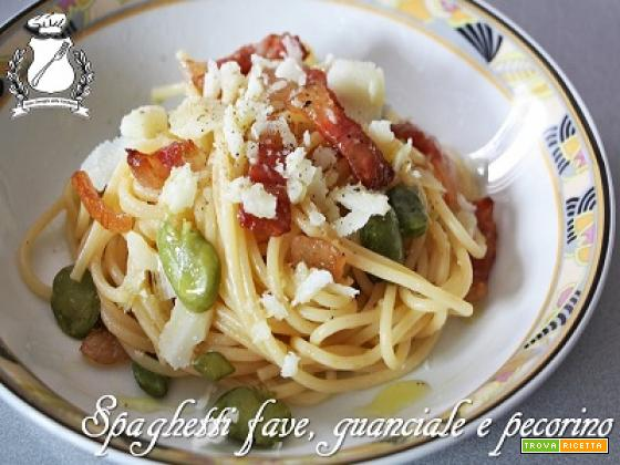 Spaghetti con fave, guanciale e pecorino