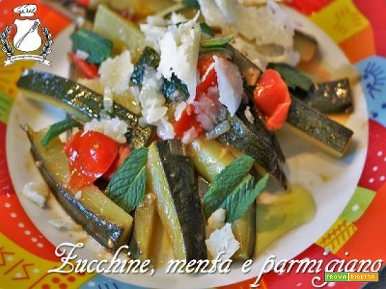 Zucchine con pomodorini, menta e parmigiano