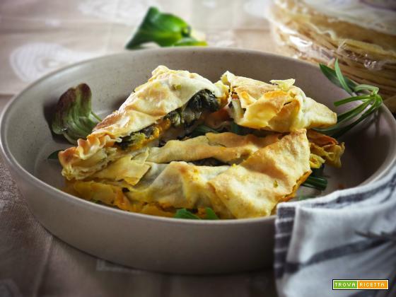 Fagottini di Pane Carasau farciti con Cicorie e Hummus di Zucca